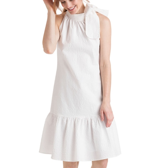 364aa434a3 Vineyard Vines Seersucker Flounce Tie Neck Dress. M_5c2d16f2c2e9febdf0c03fd6